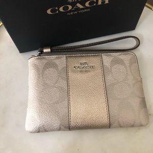 Coach Bags - Coach platinum wristlet, brand new!